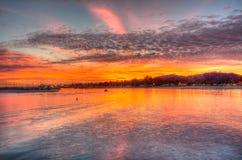 圣塔巴巴拉全景日落的 库存照片