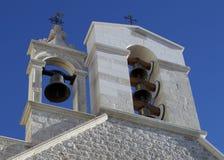 圣塔巴巴拉教会钟楼在希贝尼克,克罗地亚 图库摄影