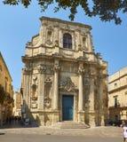 圣塔Chiara教会在莱切Piazzetta维托里奥Emanuele II正方形  免版税库存图片