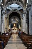 圣塔Maria del Popolo大教堂的内部  意大利罗马 库存图片