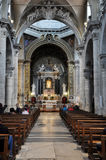 圣塔Maria del Popolo大教堂的内部  意大利罗马 免版税库存图片
