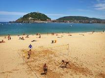 圣塞瓦斯蒂安或Donostia海岸 免版税库存图片