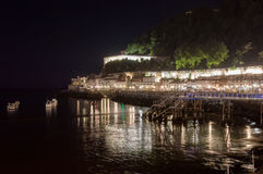 圣塞瓦斯蒂安海滩在晚上 库存图片