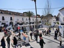 圣塞瓦斯蒂安街在南部的西班牙地区的最美好的`白色`村庄的米哈斯一叫安达卢西亚 库存图片