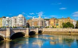 圣塞瓦斯蒂安都市风景或Donostia -西班牙 免版税库存图片