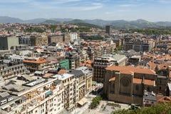 圣塞瓦斯蒂安,西班牙鸟瞰图  免版税库存图片