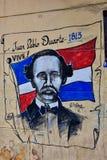 圣多明哥,多米尼加共和国 胡安帕布鲁杜瓦特街道油漆在殖民地区域 图库摄影