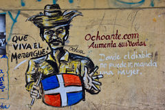 圣多明哥,多米尼加共和国 街道油漆在殖民地区域 免版税库存照片