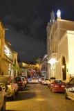 圣多明哥,多米尼加共和国 Calle杜瓦特, (杜瓦特街道)在晚上 库存图片