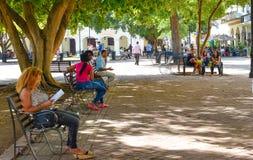 圣多明哥,多米尼加共和国 Calle el康德和殖民地区域街道生活和看法圣多明哥市 免版税图库摄影