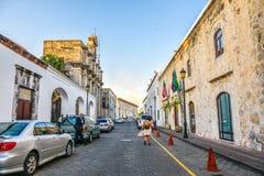 圣多明哥,多米尼加共和国 Las Damas街道 库存图片