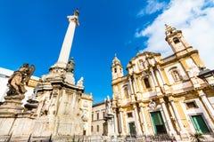 圣多明尼克,巴勒莫,意大利教会。 库存照片