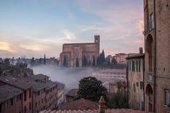 圣多梅尼科,锡耶纳,托斯卡纳,意大利大教堂Cateriniana或大教堂薄雾的 免版税图库摄影