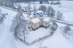 圣奥尔加教会空中照片在Leisi爱沙尼亚 图库摄影