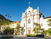 圣奥斯丁教会在波尔查诺 库存图片