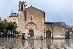圣奥斯丁陶尔米纳意大利教会  免版税库存图片