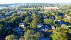 圣奥斯丁,佛罗里达 在黄昏的鸟瞰图 免版税库存照片