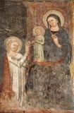 圣女玛丽亚贝加莫- Giottesque中世纪壁画-大教堂 免版税图库摄影