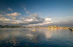 圣安东尼奥小游艇船坞风景 库存照片