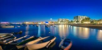 圣安东尼奥海滩和伊维萨岛,西班牙日落视图  库存照片