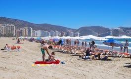 圣安东尼奥海滩的日光浴者在库列拉角,西班牙 库存照片
