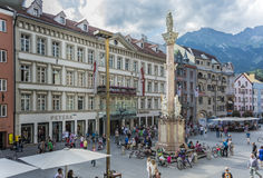 圣安妮专栏在因斯布鲁克,奥地利。 免版税库存照片