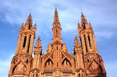 圣安妮天主教会的片段在维尔纽斯 免版税库存照片