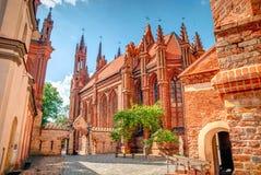 圣安妮教会在维尔纽斯,立陶宛, HDR照片 免版税图库摄影