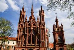 圣安妮的前面教会与钟楼,维尔纽斯,立陶宛的 图库摄影