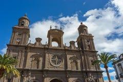 圣安娜大教堂,拉斯帕尔马斯,西班牙上面  库存图片