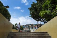 圣安娜小山塞罗圣安娜的看法在市瓜亚基尔在厄瓜多尔,南美 免版税库存照片