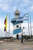 圣安娜小山,瓜亚基尔,厄瓜多尔灯塔  库存图片