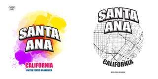 圣安娜,加利福尼亚,两件商标艺术品 免版税库存照片