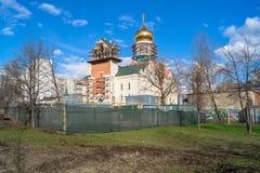 圣安德烈・鲁布烈夫大教堂的建筑在莫斯科市政区Ramenki 免版税图库摄影