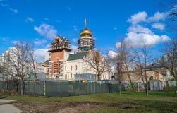 圣安德烈・鲁布烈夫大教堂的建筑在莫斯科市政区Ramenki 免版税库存图片