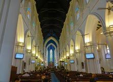 圣安德鲁大教堂内部在新加坡 免版税库存照片