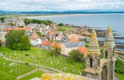 圣安德鲁斯大教堂,苏格兰全景  免版税库存照片