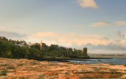 圣安德鲁斯江边和城堡在从海岸线看见的苏格兰 免版税库存图片