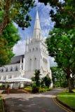 圣安德鲁` s大教堂白色教会  免版税库存图片
