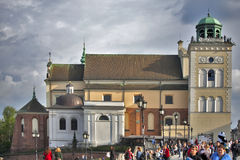 圣安那教堂钟塔,华沙,波兰 免版税库存照片