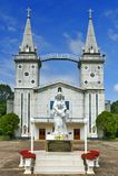 圣安那Nong Saeng天主教, Nakhon帕侬宗教地标在1926年修造了由天主教教士 库存照片