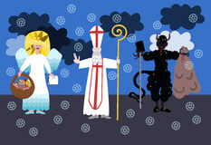 圣尼古拉、恶魔和天使-捷克圣诞节传统 库存图片