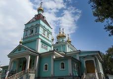 圣尼古拉教会在阿尔玛蒂,哈萨克斯坦 库存照片
