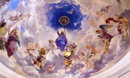 绘圣尼古拉教会基辅乌克兰的耶稣天使 免版税库存照片