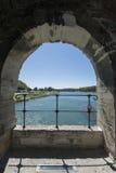 圣尼古拉教堂, Pont圣徒Bénézet,阿维尼翁,法国 库存照片