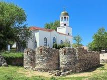 圣尼古拉斯圣西里尔和圣Methodius修道院和教会的挖掘在索佐波尔,保加利亚 库存照片