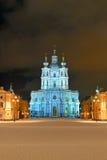 圣尼古拉斯大教堂在圣彼德堡在晚上 免版税库存照片