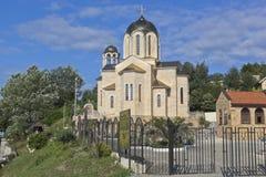 圣尼古拉斯寺庙我们的夫人` Sumela修道院`创奇迹者和象在村庄Moldovka,索契 库存图片