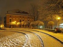 圣尼古拉斯广场在Bielsko-Biala的历史市中心在波兰 图库摄影