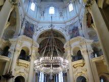圣尼古拉斯教会内部在布拉格 库存图片